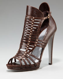 Sergio Rossi Lizard- Embossed Sandal :  lizard sandals shoe shoes