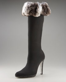 Rene Caovilla Fur-Trim Sock Boot :  formal heel fabric fur