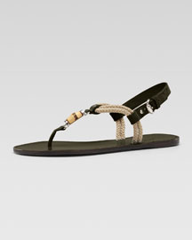 Gucci Maui Flat Thong Sandal, Military Green