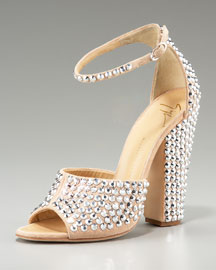Giuseppe ZanottiCrystal Chunky-Heel Sandal from neimanmarcus.com