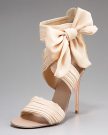 Giuseppe Zanotti Chiffon-Bow Sandal :  sandal ankle shoes cream