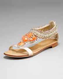 Giuseppe Zanotti Coral-Embellished Flat Sandal from neimanmarcus.com