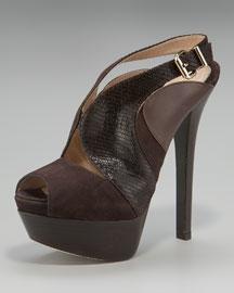 Fendi Stamped Lizard Cutout Platform Sandal