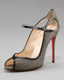 Christian Louboutin Glittered Keyhole Mary Jane