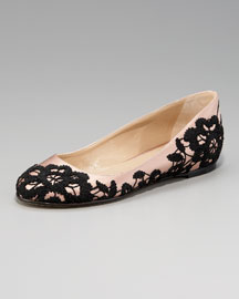 Valentino Lace-Embroidered Ballerina