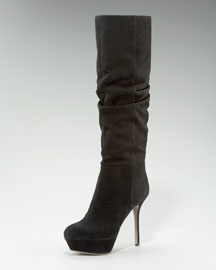 Sergio Rossi Stretch-Suede Knee Boot