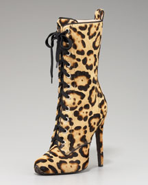 Giambattista Valli Lace-Up Leopard Boot