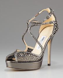 Jimmy Choo Crystal-Mesh Platform Sandal
