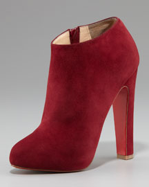 Christian Louboutin Suede Thick-Heel Bootie