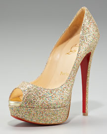 Christian Louboutin Lady Glittered Peep-Toe Pump