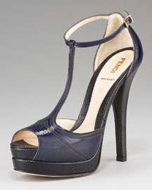 Fendi Laser-Cut T-Strap Platform Sandal
