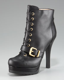 Fendi Lace-Up Belted Boot
