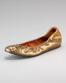 Lanvin Lizard-Embossed Ballerina Flat