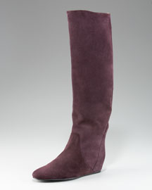 Lanvin Suede Wedge Knee Boot