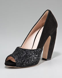 Miu Miu Glittered Open-Toe Pump