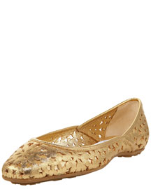 Jimmy Choo Star-Cutout Napa Flat