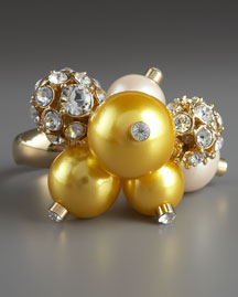 kate spade yellow cluster pearl ring