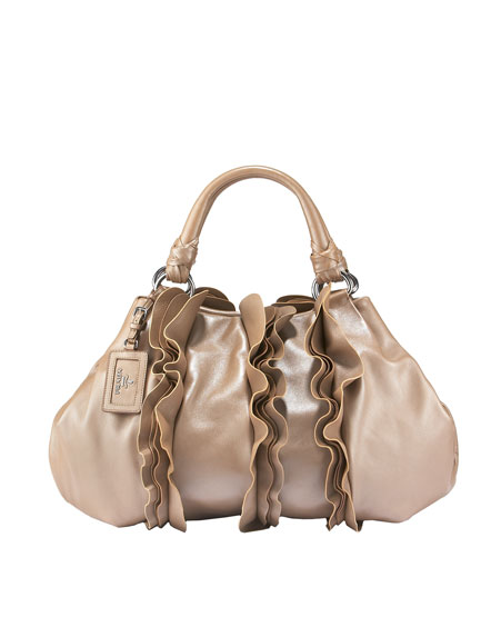 Stylish frilled handbag Nappa Hobo :  handbag fashion leather style