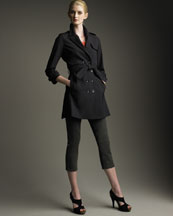 Fendi Tiered-Back Trench, Belted Knit Top & Contrast Cropped Jeans