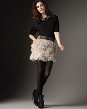 Robert Rodriguez Double-Layer Pullover & Feather Skirt