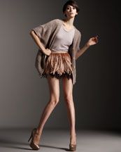 Alice & Olivia Sequined Cocoon Sweater & Feather Skirt & Shirttail Tank