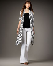 Alice + Olivia Convertible Striped Cardigan & Stacy Bell-Bottom Pants