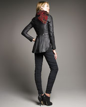 McQ by Alexander McQueen Leather Military Jacket, Relaxed Jersey Tank & Ruched Jersey Leggings