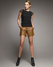 See by Chloe Tiered Cotton Lace Blouse & Leather Trouser Shorts