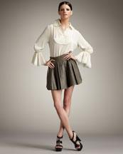 Alice + Olivia Tillie Bib Top & Louise Box-Pleat Leather Skirt