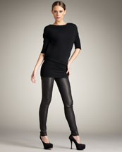 Bird by Juicy Couture Open-Back Sweater & Leather Leggings