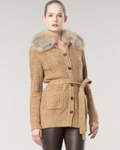 Rena Lange Fur-Collar Cardigan