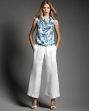Armani Collezioni Wide-Leg Linen Trousers