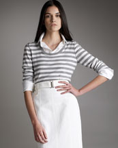 Akris Punto Striped Sweater with Detachable Collar