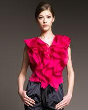 Nina Ricci Ruffled Silk Blouse