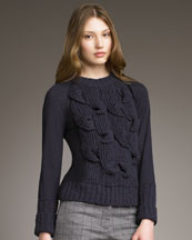 See by Chloe Cable & Smooth-Knit Sweater