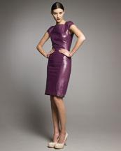Yves Saint Laurent Cap-Sleeve Leather Dress