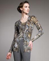 Blumarine Python-Print Silk-Cashmere Cardigan