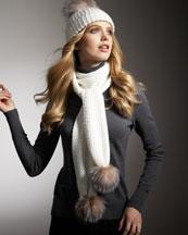 Sofia Cashmere Cashmere Scarf with Fur Pompom