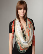 Alexander McQueen Mixed-Print Scarf, Shell/Red