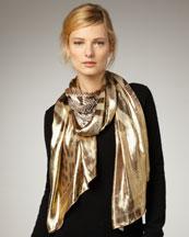 Roberto Cavalli Metallic Leopard-Print Stole, Gold