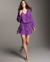 Rebecca Taylor Silk Day-to-Date Dress :  drawstring short sleeves tiered