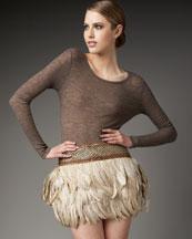 Haute Hippie Goose Feather Miniskirt