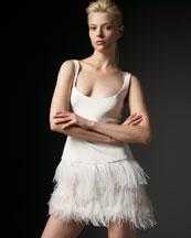 Jay Godfrey Sleeveless Feather-Bottom Dress