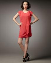 DKNY Ruffle-Detail Cap-Sleeve Dress