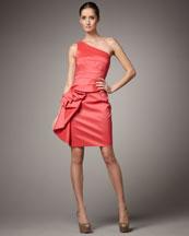 Badgley Mischka Platinum Label One-Shoulder Ruffle Peplum Dress