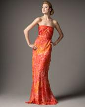Carmen Marc Valvo Floral Flutter-Back Gown