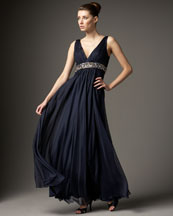 Carmen Marc Valvo Chiffon Beaded-Waist Gown