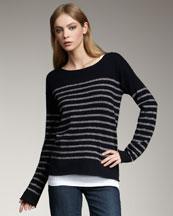 Vince Shimmer-Stripe Cashmere Sweater