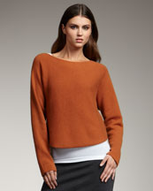 Vince Cropped Knit Sweater, Rust