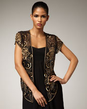Aidan Mattox Beaded Open Blouse